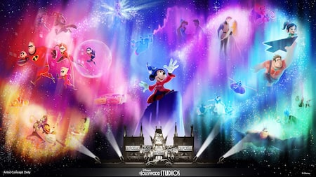 An illustration of the upcoming Wonderful World of Animation cinematic nighttime experience at Walt Disney World Resort