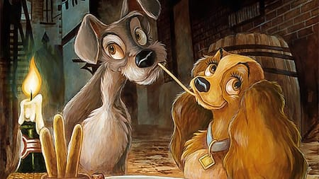 A vintage illustration of Lady and the Tramp eating spaghetti