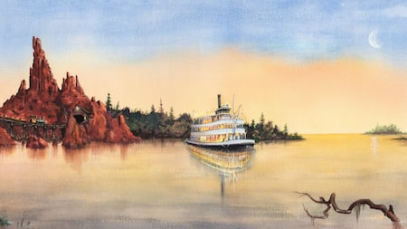 A painting of a riverboat sailing by a mountainous shore