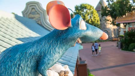 Chef Remy on an Epcot Festival rooftop as guests search for him in Remy's Hide and Squeak Scavenger Hunt