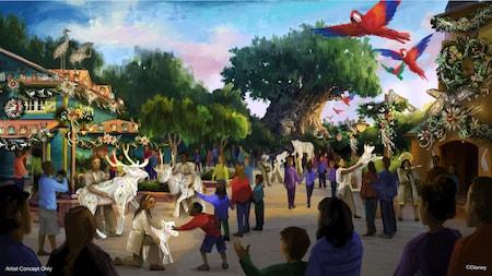 Uma ilustração artística dos Visitantes do Parque interagindo com fantoches de animais na Discovery Island