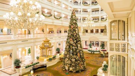 The stunning Christmas tree in the elegant lobby of Disneys Grand Floridian Resort and Spa