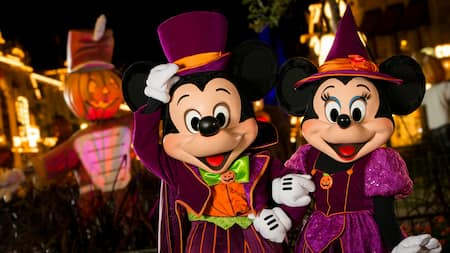 Mickey and Minnie at Mickey's Not So Scary Halloween Party at Magic Kingdom Park