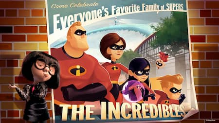 Edna stands next to a poster of The Incredibles