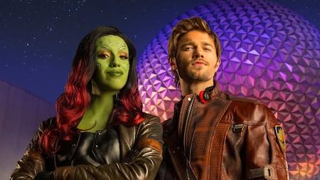 Star Lord y Gamora de Guardians of the Galaxy en Epcot