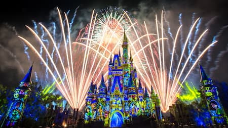 The Happily Ever After Fireworks Show in progress at Cinderella Castle