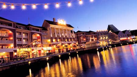 Disney's BoardWalk Inn on Cresent Lake at dusk