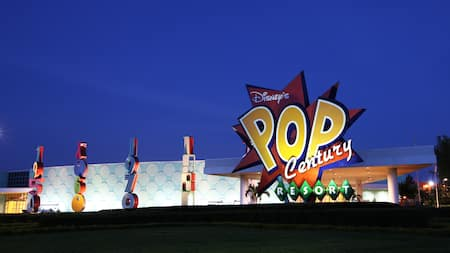 Sign at the entrance of Disney's Pop Century Resort