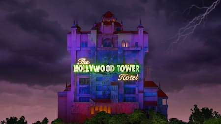 An artist's rendering of the Hollywood Tower Hotel from the Twilight Zone Tower of Terror attraction