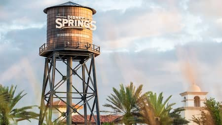 The sign on a rustic looking water tower identifies the surrounding area as Disney Springs