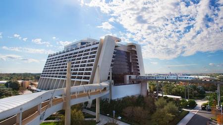 A monorail goes through Disney's Contemporary Resort, an A frame hotel near Magic Kingdom park