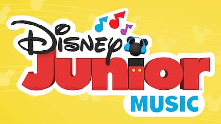 Un logotipo que dice 'Disney Junior Music'