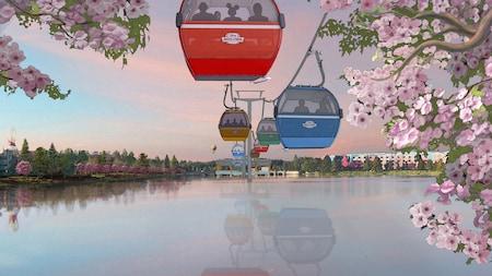 People ride in Disney Skyliner gondolas over a body of water near Disney's Art of Animation Resort