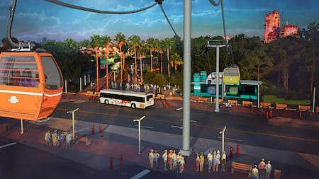 Disney Skyliner gondolas deliver Guests to the station at Disney's Hollywood Studios