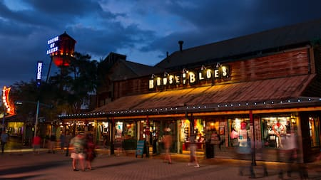People stroll by House of Blues at Disney Springs in the evening