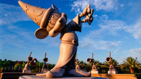 A larger than life statute of Mickey Mouse dressed as the Sorcerer's Apprentice from 'Fantasia'