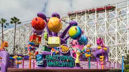 Emotional Whirlwind, a Pixar Pier attraction with themes from the Disney film Inside Out