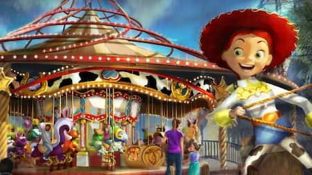 Jessie the Yodeling Cowgirl from Toy Story reels in a lasso in front of a carousel