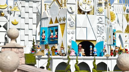 The fanciful it's a small world facade is full of whimsical detail