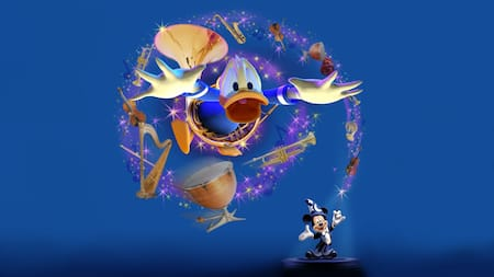 Mickey Mouse casts a spell that sends Donald Duck flying with an array of musical instruments