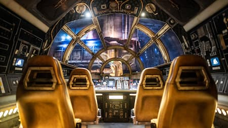 The cockpit of the Millennium Falcon