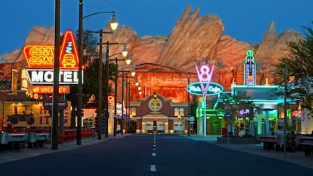 The main road in the middle of Radiator Springs at Disney California Adventure Park