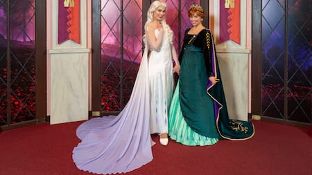 Anna and Elsa, the sisters from Frozen, dressed in beautiful flowing gowns.