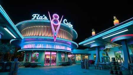 The neon lit Flo's V 8 Café at dark
