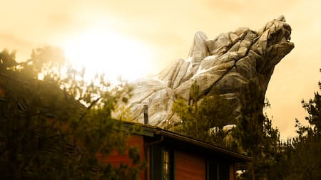 A bear shaped mountain marks the location of Grizzly River Run
