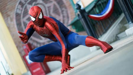 Spider Man crouches, ready to spin a web