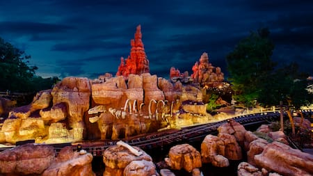 A section of Big Thunder Mountain Railroad with a hairpin curve and a campground