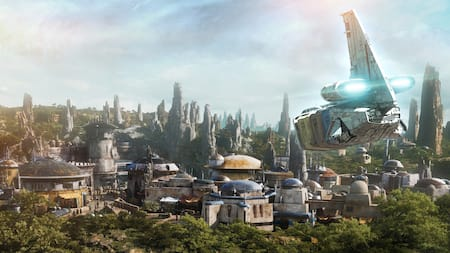 The Resistance transport pod, a tub shaped starship with a rear fin, lands in a city with domed roofs