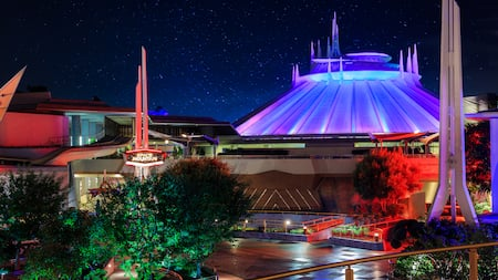 The futuristic exterior of Space Mountain