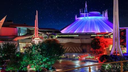 The futuristic exterior of Space Mountain