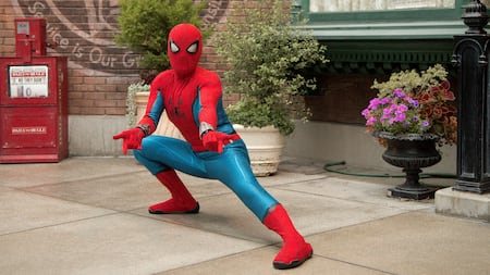 Spider Man poses in Hollywood Land