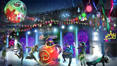 An artist rendering of dancers performing around a large apple sculpture at the festively decorated Disney DescenDance Party