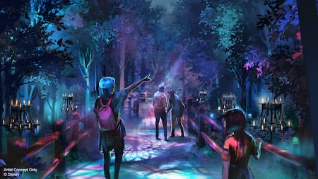 An artist rendering of Guests creeping along an eerie treat trail