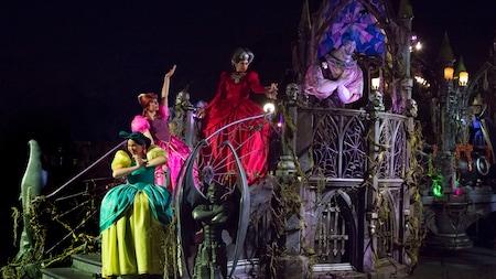 Disney villains congregate on a spooky parade float