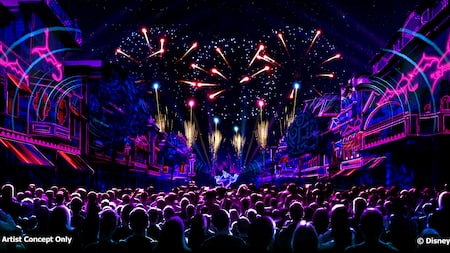 Una ilustración de una gran multitud viendo un espectáculo de luces y fuegos artificiales en Main Street