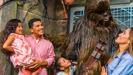 A family of four meets Chewbacca