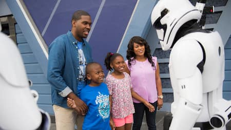 A family of four encounters Stormtroopers