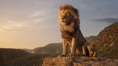 From the 2019 Disney live action movie The Lion King, standing on a mountain top are adult lion Mufasa and his cub lion son Simba, the king and prince of the Pride Lands.