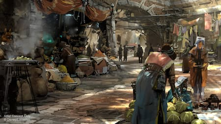 Lively villagers from Batuu offering a variety of goods, fares and wears from Black Spire Outfitters