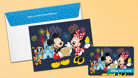 A Disney Gift Card featuring Mickey and Minnie with an envelope carrier that says Open a world of possibilities on the flap