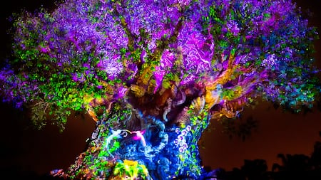 Los efectos de proyección le dan vida al emblemático Tree of Life en el Parque Disney's Animal Kingdom por la noche