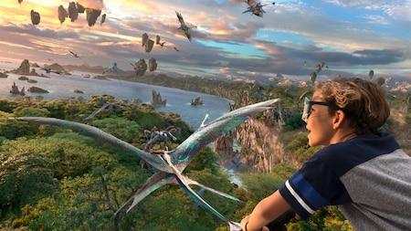 Un niño sobrevuela los cielos de Pandora junto a los Na'vi en banshees montañeses