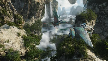 Na'vi people riding atop flying mountain banshees through a range of floating mountains of Pandora