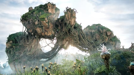Magnificent floating mountains rise high above the Valley of Mo'ara at Pandora – The World of Avatar