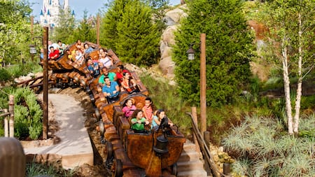 Guests riding a roller coaster over a hill, with Cinderella Castle in the background.