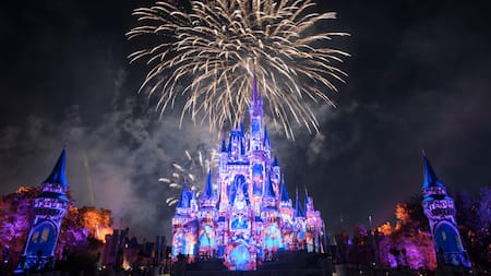 Images are projected onto Cinderella Castle as fireworks burst in the sky